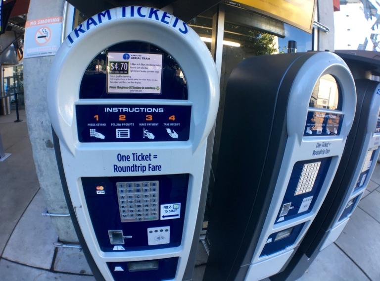 ポートランドにあるエアリアルトラム(ロープウェイ)券売機
