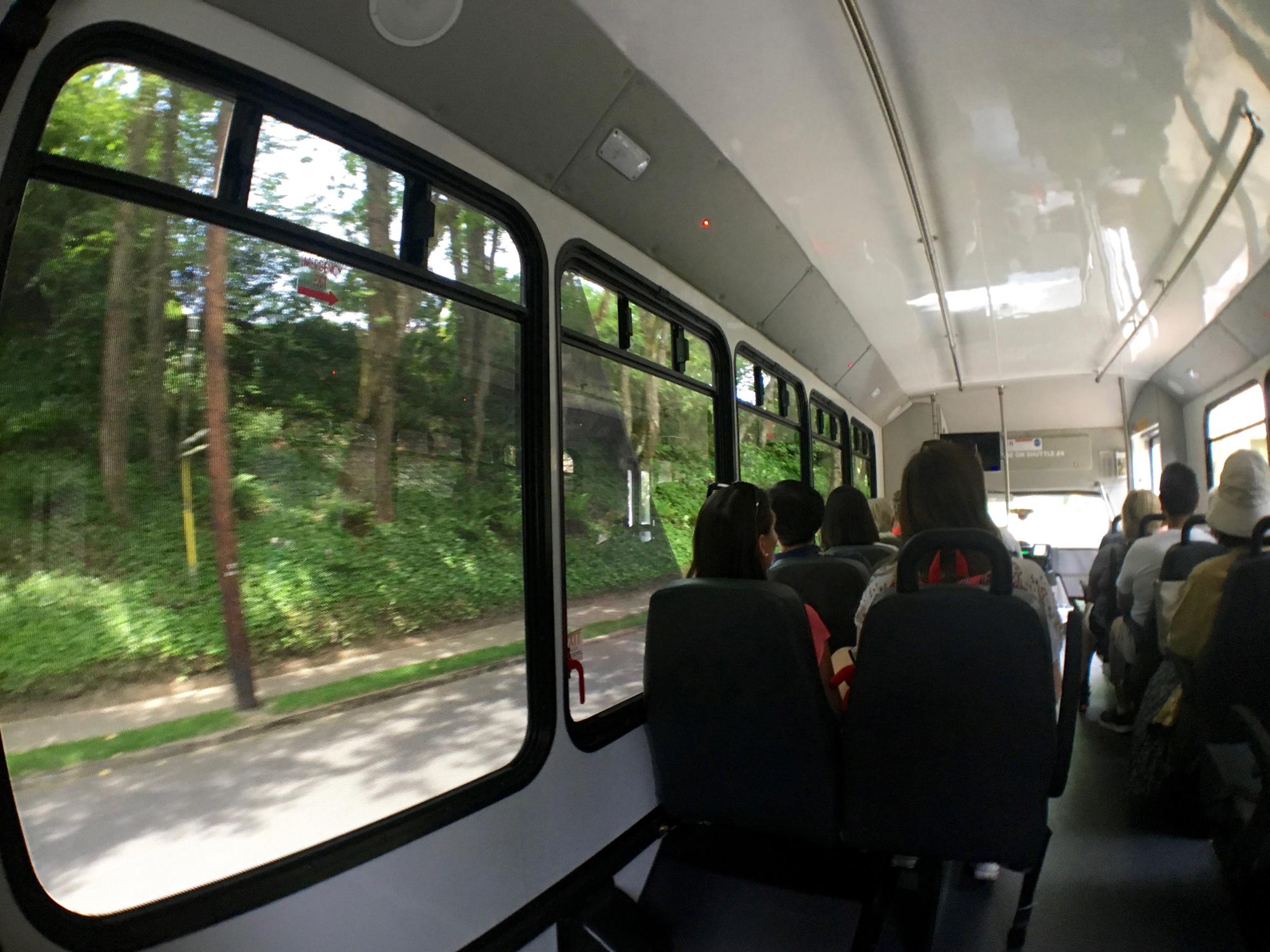ポートランドのワシントンパーク無料シャトルバスの中